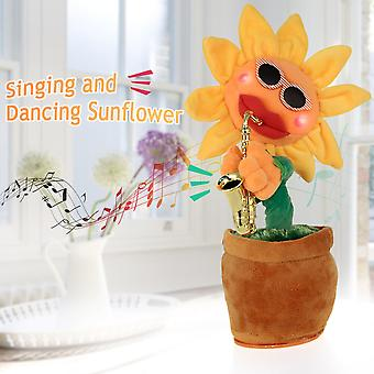 Saxophone Dancing And Singing Flower Enchanting Sunflower Soft Stuffed Plush Toys Funny Electric Toys For Kids Party Toys
