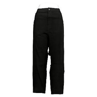 Susan Graver Women's Petite Jeans Stretch Denim Slim-Leg Ankle Black A387872