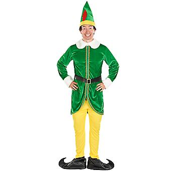 Mens Buddy Elf Xmas Fancy Dress Kostym
