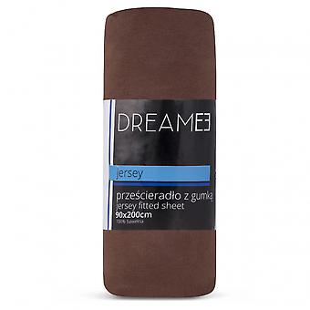 spanbed sheets jersey 90 x 200 cm cotton brown