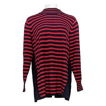 Susan Graver Women's Sweater Plus Gestreept Katoenen Knoop Detail Rood A372460