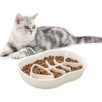 White Ceramic Slow Feeder Cat Dog Bowls - Conception unique fishbone fun
