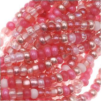 Tšekin lasiset siemenet, 11/0 Pyöreä, 1 Hank, Pretty Princess Pink Mix