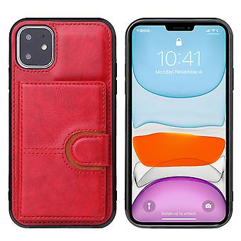 Leather wallet case for samsung a21 red pns-1770