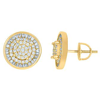 925 Sterling Silver Yellow tone Mens Cubic zirconia Round Fashion Stud Earrings Jewelry Gifts for Men