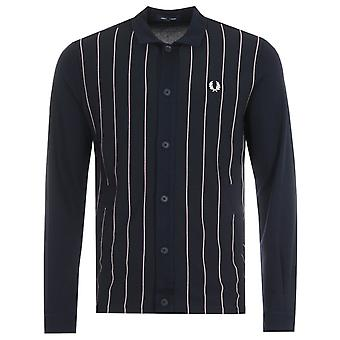 Fred Perry Knitted Panel Track Jacket - Navy