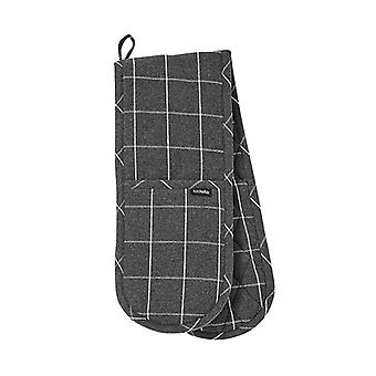 Ladelle Eco Check Double Oven Glove, Charcoal