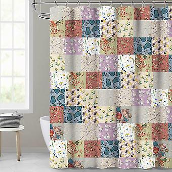 Waterproof Polyester Leaves 3d Printing Curtains For Bathroom ( Set 2)