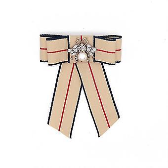 Elegante Damen Brosche Schleife mit Bee Corsage Diamant eingelegt Brosche Pin