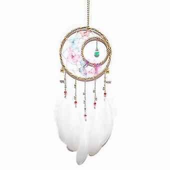 Girl Heart Butterfly Dance Glass Feather Pendant Wind Chime Home Decoration