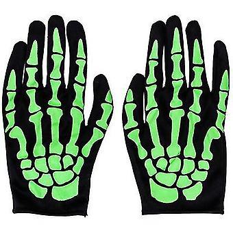 Skelet handschoenen Halloween kostuum partij cosplay handschoenen volledige vinger mummie spook handschoenen (groen)