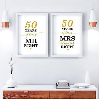 Mr Right/Mrs Always Right Art Print   50th Anniversary Gift   A4 w/ White Frame