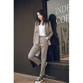 Women Casual Suit High Waist Pant Office Lady Notched Jacket