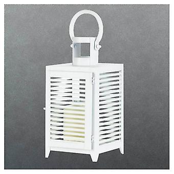 Galleri av lys hvit slatted stearinlys lykt - 12 inches, pakke med 1