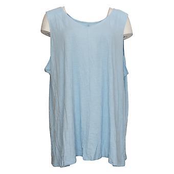 Denim & Co. Women's Plus Top Naturals Linen Blend Knit Tank Bleu A379061