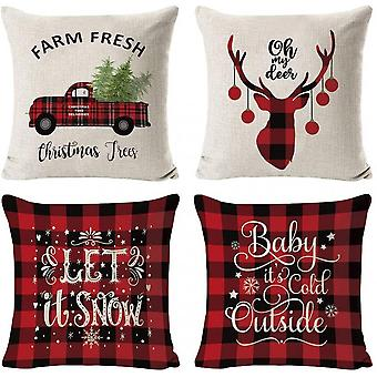 Pillow Covers 4 Pack Christmas Tree Snowflake Reindeer Linen Pillow Cases 18inch