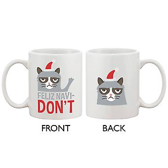 Cute Grumpy Cat Holiday Coffee Mug - Feliz Navidon't Funny Coffee Mug Cup
