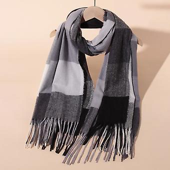 Clássico lenço tartan xadrez para mulheres homens macios verificam lenços tassel cachecol de inverno quente