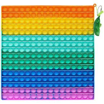 Giant Pop Fidget It Toy 256 Bubbles + Pea Pod Keychain - Rainbow Big It Pop Sensory Toy For Stress Relief - Premium Silicone Huge Square Push & Pop (3