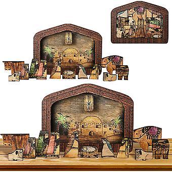 Fa Jézus puzzle szobor Betlehemes rejtvények szobor dekorációk