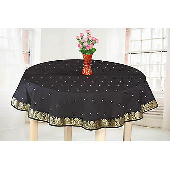 Black Gold - Handmade Sari Tablecloth (India) - Round