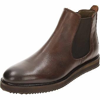 Frank Wright Edwin Black Milled Leather Chelsea Pull On Ankle Boots