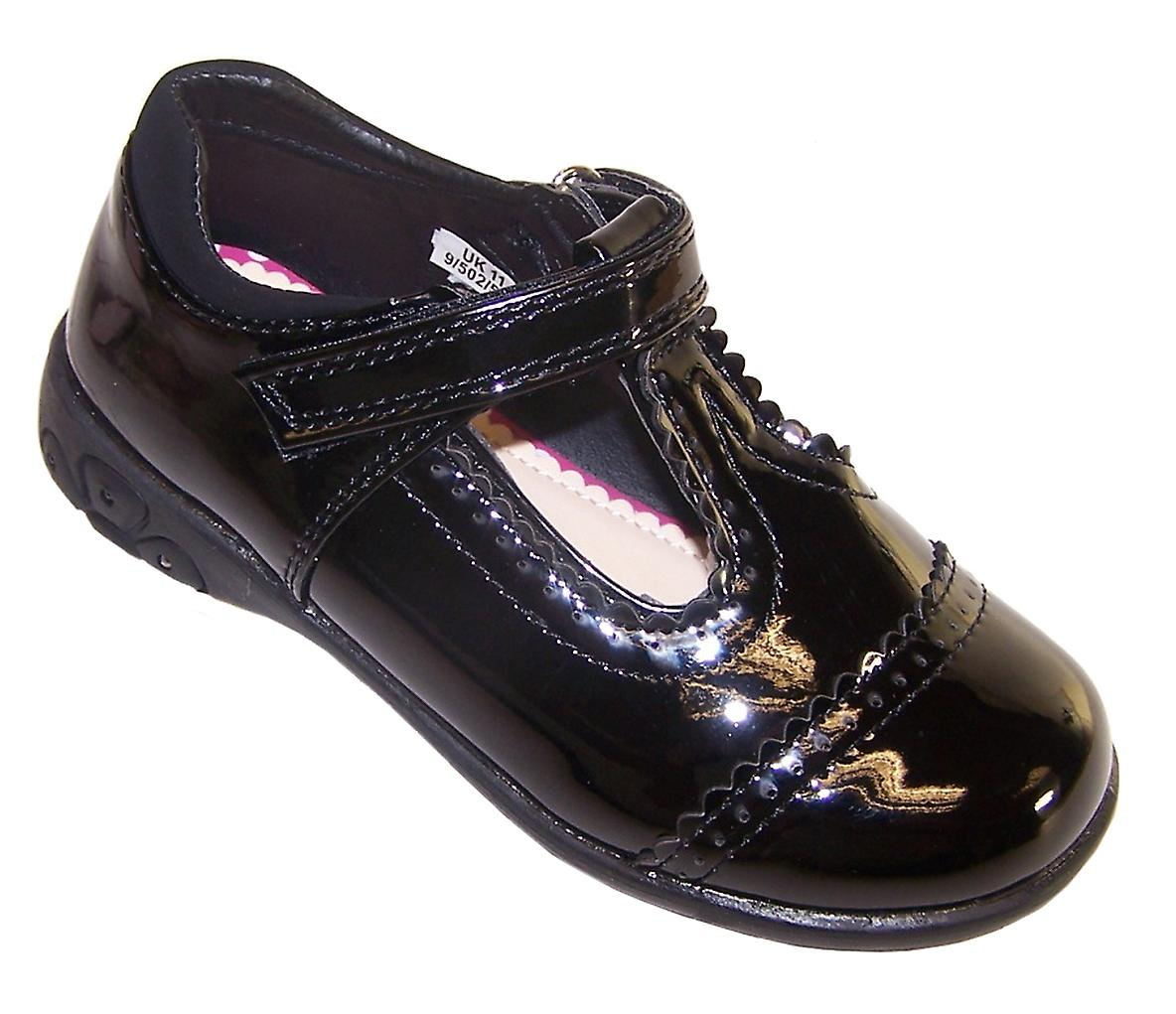 Girls black patent school shoes with lights
