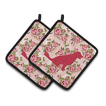 Labrador Shabby Chic Pink Roses  Pair of Pot Holders