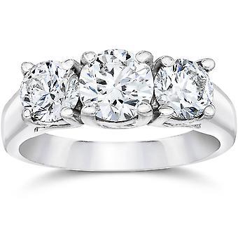 2ct Three Stone Diamond Ring 14K White Gold