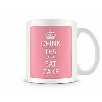 Trinken Sie Tee und essen Sie Kuchen-Becher Printed