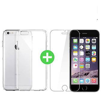 Stuff Certified® iPhone 6 läpinäkyvä TPU-kotelo + näytön suoja karkaistu lasi