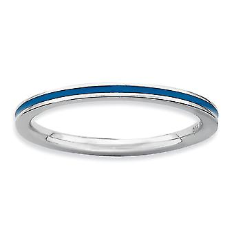 925 Sterling Silber poliert Rhodium vergoldet stapelbare Ausdrücke blau emailliert 1,5 mm Ring Schmuck Geschenke für Frauen - Rin