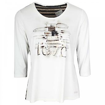 Tuzzi 3/4 Sleeve Cream Love Print Top