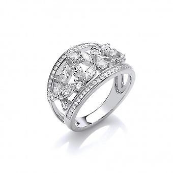 Cavendish francia ezüst és cz ' s bőven Ring