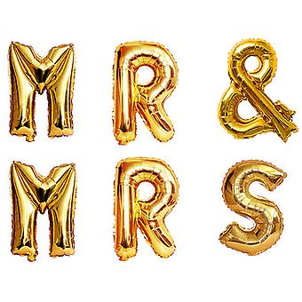 "TRIXES Mr and Mrs 16"" Metallic Gold Balloon Pack Wedding Decoration"