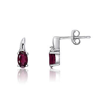 LXR 14k valkoinen kulta rubiini ja timantti korvakorut 0.35 ct