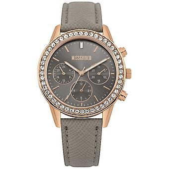 Missguided | Damen | Graues Leder Armband Rotgold Fall | MG002ERG Uhr