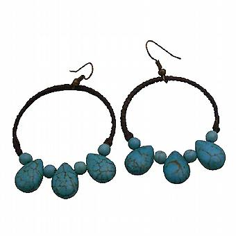 Cire Cord Tissé Boutique Parfaitement Boho fantaisie Boucles d'oreilles turquoise Superbe