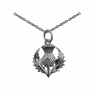 Silver 15mm Scottish Thistle Pendant with a rolo Chain 24 inches