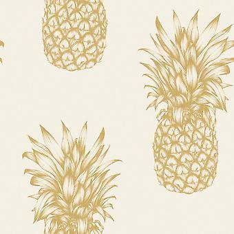 Copacabana Gold Pineapple Print Wallpaper Metallic Cream Tropical Arthouse