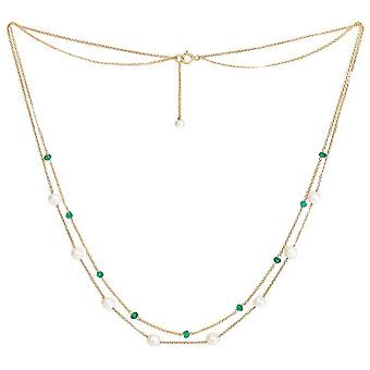 Pearls of the Orient Fine Double Chain Freshwater Pearl and Emerald Necklace - Green /White/Gold