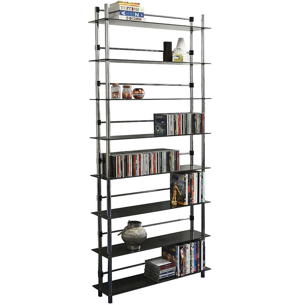 Maxwell - 8 Tier 344 Dvd / Blu-ray / 520 Cd / Media Storage Shelves - Black / Silver