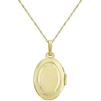 Mark Milton oval medaljong hänge-gult guld