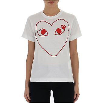 Comme Des Garçons Play P1t0991 Women's White Cotton T-shirt