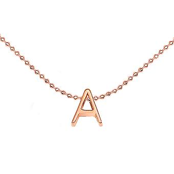 Ah! Jewellery 3D Initial Necklace. 18K Rose Gold Vermeil Over Sterling Silver, Stamped 925.