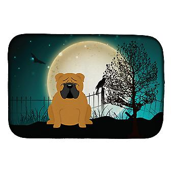 Halloween Scary  English Bulldog Red Dish Drying Mat
