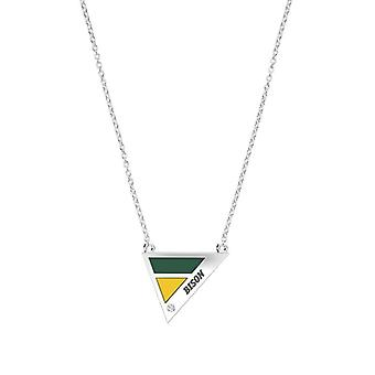 North Dakota State University Engraved Sterling Silver Diamond Geometric Necklace In Green & Yellow