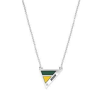 ノースダコタ州立大学は、グリーン&イエローでスターリングシルバーダイヤモンド幾何学的ネックレスを刻んだ