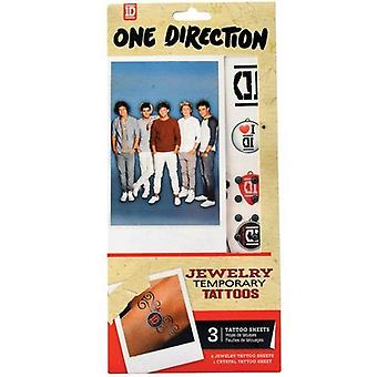 One Direction Jewellery Temporary Tattoo's, 2 Fogli tatuaggi