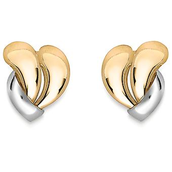 Jewelco London 9ct 2-Colour Gold Wave Water Drops Stud Earrings